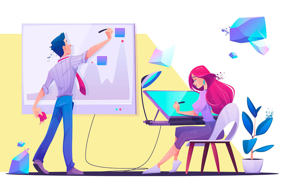 Colorful illustration of two young man and woman working together