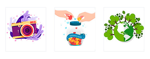 Carousel of three illustrations of camera, two hands putting coins and love in a jar and a green planet with trees