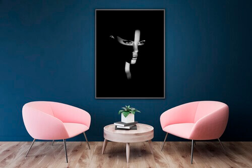 Beautiful framed photography fine art print by Samuel Zlatarev hung on a blue wall in a luxury home