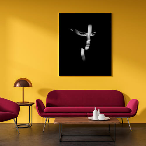 Beautiful fine art print by Samuel Zlatarev hung on a yellow wall in a luxury home