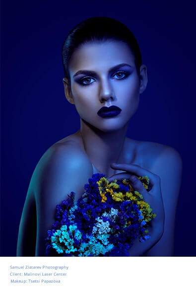 Professional portrait photograph of a girl holding a flowers by Samuel Zlatarev