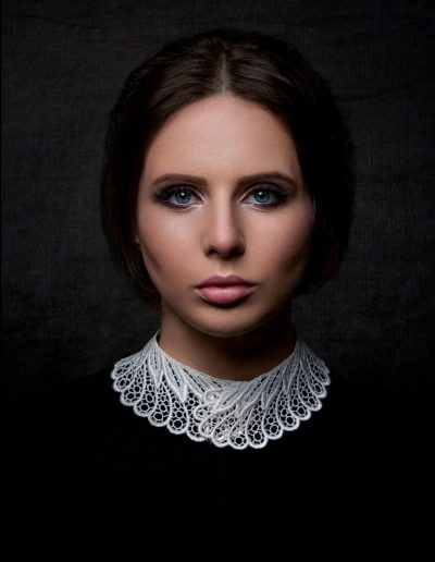 Beautiful classic portrait on a dark background of young girl by Samuel Zlatarev Photography