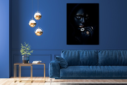 Beautiful canvas photography fine art print by Samuel Zlatarev hung on a deep blue colored wall in a luxury home