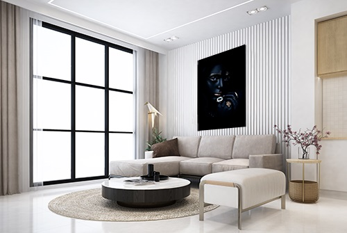 Beautiful canvas photography fine art print by Samuel Zlatarev hung on a white wall in a luxury home