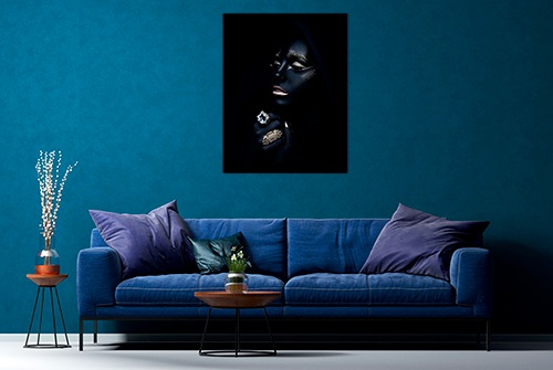Beautiful canvas photography fine art print by Samuel Zlatarev hung on a blue wall in a luxury home