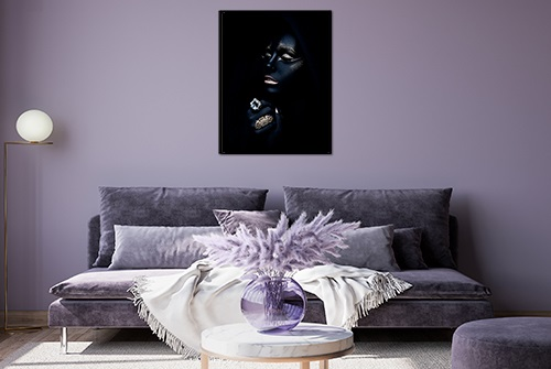 Beautiful canvas photography fine art print by Samuel Zlatarev hung on a purple wall in a luxury home